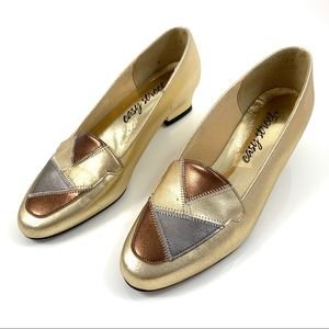 1980's metallic gold, silver + copper loafers